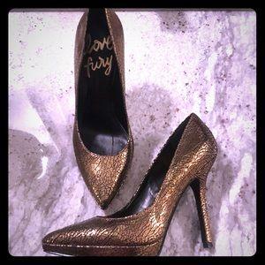Nine West Love Fury Gold Metallic Heels